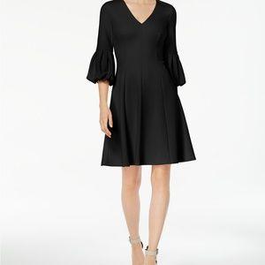 NWOT Calvin Klein Bubble Puff Sleeve Black Dress